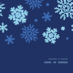 Vector glitter snowflakes dark horizontal frame seamless pattern