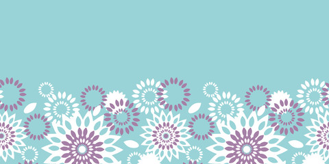 Purple and blue floral abstract horizontal seamless pattern