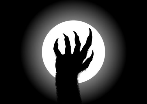 Silhouette illustration of werewolf hand against the full moon