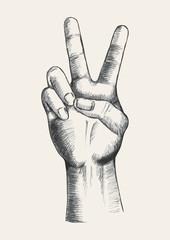 Sketch of a hand gesturing victory symbol