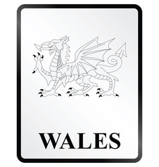 Monochrome Wales public information sign