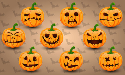 Halloween icon set of Pumpkins