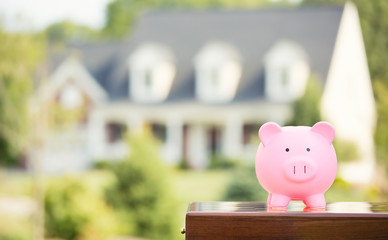 Piggy bank isolated outside on home background