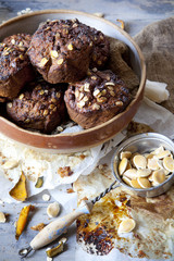 homemade muffins with pumpkin and chocolate