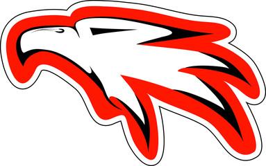 eagl head in red countur