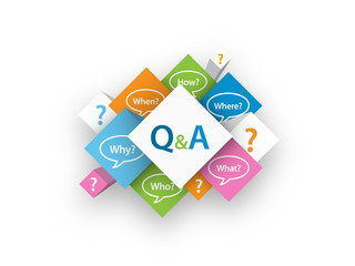 Q&A cubes (questions speech bubbles FAQ help service)