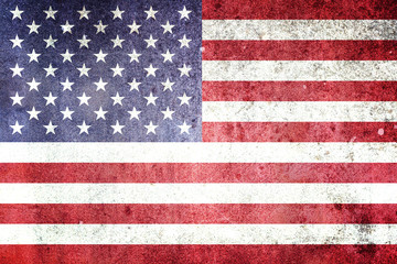 Flag of the United States of America. Grungy effect.