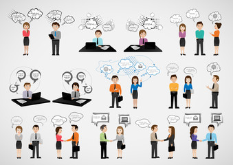 Business People With Speech Bubbles - Isolated On Gray