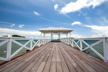 Atsadang wooden bridge on Koh Sichang, Thailand