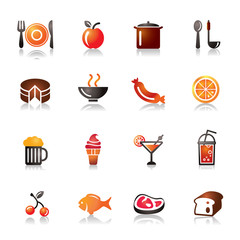 Food and Drinks Colorful Icons
