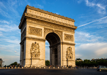 Arch of Triumph (Arc de Triomphe) with dramatic sky