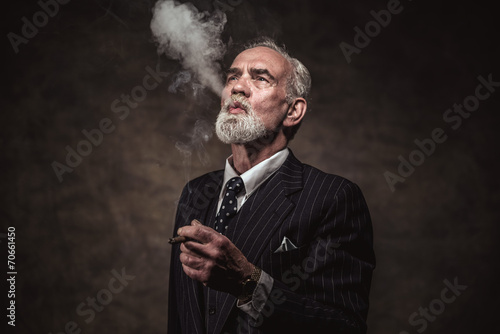 """Cigar Smoking Characteristic Senior Business Man With"