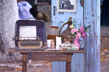 Old typewriter vintage toning