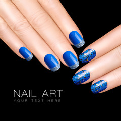 Nail Art Trend. Luxury Blue Nail Polish. Glitter Nail Stickers