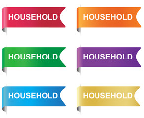 Household, flag, tag, label, badge, sign, horizontal