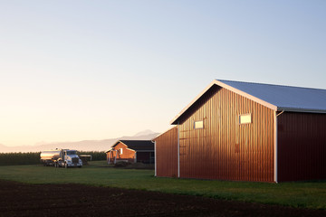 farm barn in the countryside with sunrise light