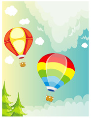 landscape hot air balloon on sky
