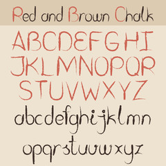 Red and brown chalk alphabet