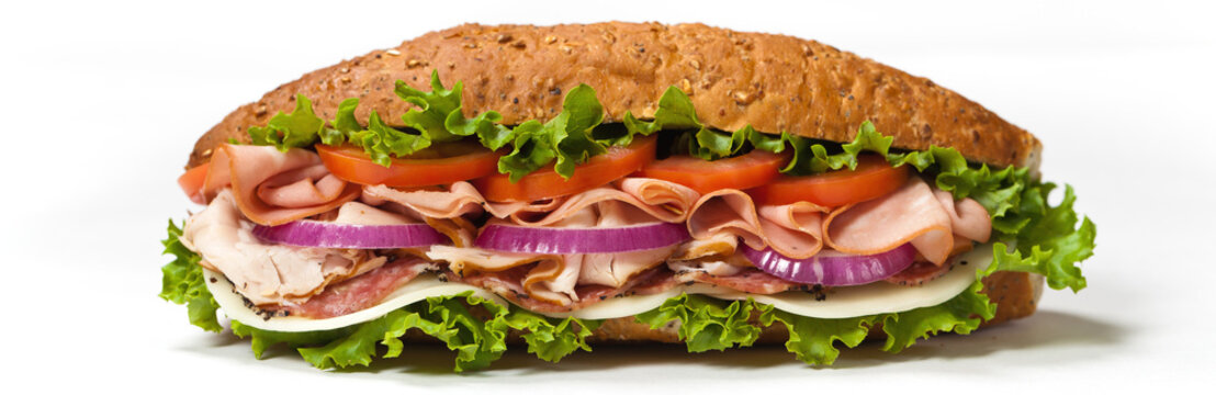 Italian Sub Sandwich with Salami, Tomato, and Lettuce