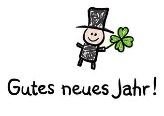 Gutes Neues Jahr! - Karte mit Schornsteinfeger und Kleeblatt