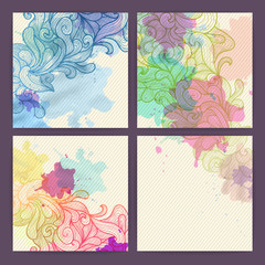 Set of ornamental artistic watercolor banners
