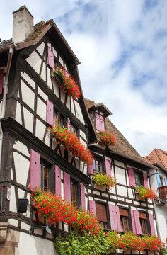 Maisons à colombages à Obernai en Alsace, Bas Rhin