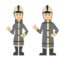 Firefighter Man And Women Couple Thumbs Up