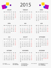 Kalender 2015 mit bunten Quadraten