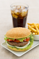 Hamburger wiht french fries and fresh drink