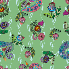 Seamless pattern with decorative  doodle flowers
