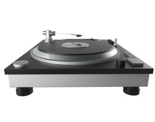 black turntable isolated on white background with clipping mask