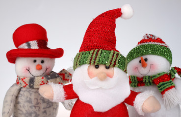 Christmas dolls,Santa Claus and two snowmen