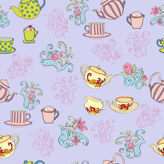 Seamless pattern with tea pots and cake