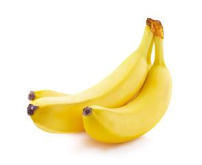 Ripe bananas isolated.