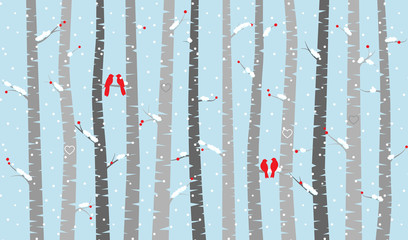 Vector Birch or Aspen Trees with Snow and Love Birds