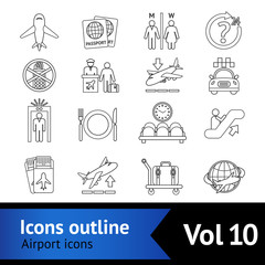 Airport Icons Outline Set