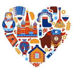 Russia travel heart set