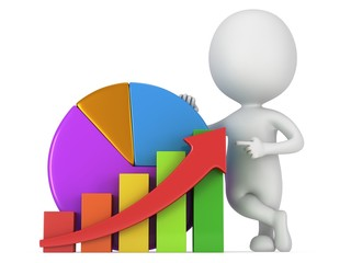 3d man with bar graph and pie chart