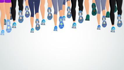 Group running people legs