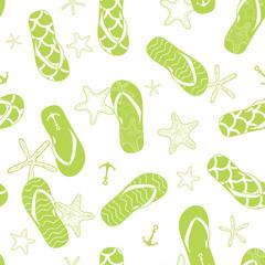 vector nautical flip flops green seamless pattern background