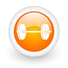 fitness orange glossy web icon on white background.