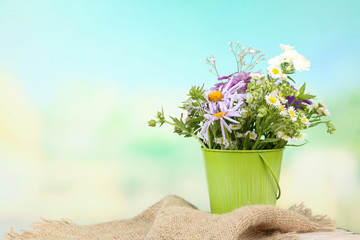 Bouquet of colorful flowers in decorative vase,