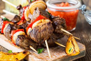 Grilled  beef shishkabab skewers