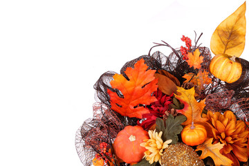 Pumpkins and Fall Leafs. Autumn or Thanksgiving Bouquet isolated