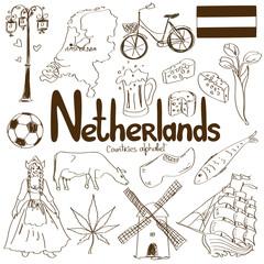 Foto auf AluDibond Boho-Stil Collection of Netherlands icons