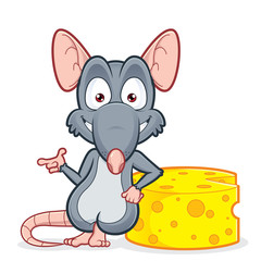 Rat leaning on a cheese