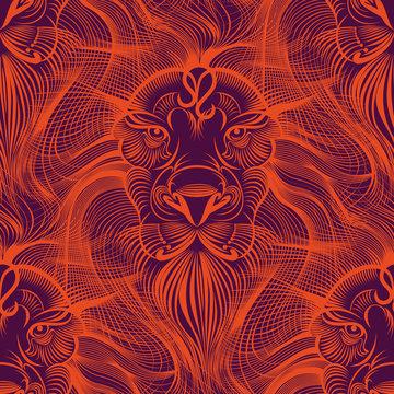 Repaint seamless pattern: fiery Leo