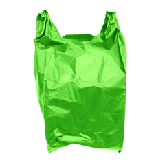 Green plastic bag isolated on white with clipping path.