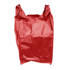 Red plastic bag isolated on white with clipping path.