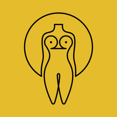 beautiful nude woman icon with concept